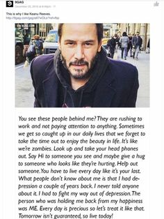 Keanu Reeves - The man has had a lot of tragedy in his life and still remains humble, grounded, and kind. An example to us all. Now Quotes, Great Quotes, Quotes To Live By, Life Quotes, Actor Keanu Reeves, Keanu Reeves Quotes, Keanu Reeves Life, Positive Quotes, Motivational Quotes