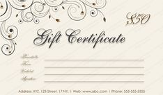 Swirls Gift Certificate Template #giftcard #giftcertificate #gifttemplate #editablegiftvoucher