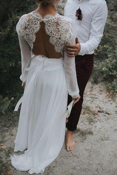 inspiration mariage d'automne par la boheme robe de mariée dos dentelle kamélion couture