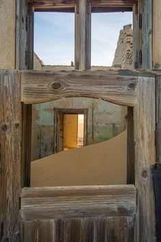 An eerie trip an abandoned mining town - Kolmanskop. Namib Desert, Ghost Towns, South Africa, Abandoned, Adventure, Places, Home, Left Out, Ad Home
