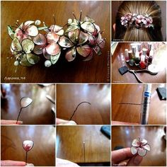 How to DIY Beautiful Hair Accessory with Nail Polish tutorial and instruction. F… How to DIY Beautiful Hair Accessory with Nail Polish Jewelry, Nail Polish Flowers, Nail Polish Crafts, Nail Polish Art, Wire Crafts, Jewelry Crafts, Diy Nagellack, Crafts For Kids, Arts And Crafts