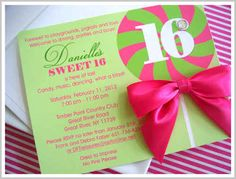 sweet 16 candy theme invitations Candy Themed Sweet 16 Invitations