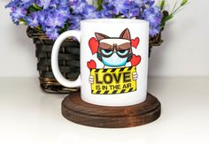Excited to share the latest addition to my #etsy shop: Funny Valentines Gift, Grumpy Cat, Love is in The Air, Funny Mug Coffee Mug, Adult Humor, Gift for Him, Gift for Her, Love Mug, Funny Cat http://etsy.me/2DYkBOS #housewares #yes #ceramic #valentinesday #grumpycat #