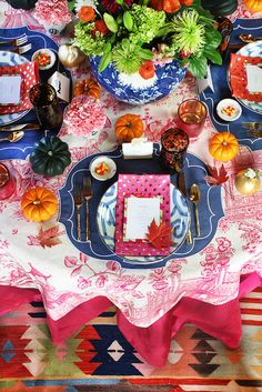 Thanksgiving table, holiday table setting, kilim rug, pink toile tablecloth, furbish studio, #daretomix