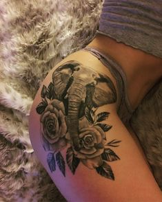 Elephant thigh tattoo ❤️❤️ #tattootips