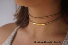 Double Suede Choker, Gold Choker Necklace, Dainty Choker Necklace,Gold Necklace Dainty, Dainty Gold Satellite Chain, Choker Necklace