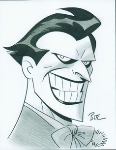 "The Joker by Bruce Timm (Also proof you're a 90's kid. You see this and think ""Mark Hamill"")"