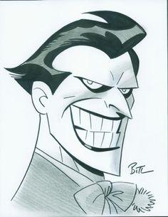 Batman and The Joker by Bruce Timm Le Joker Batman, Joker Cartoon, Joker Art, Batman Art, Joker And Harley Quinn, Cartoon Art, Gotham Batman, Batman Robin, Joker Drawings