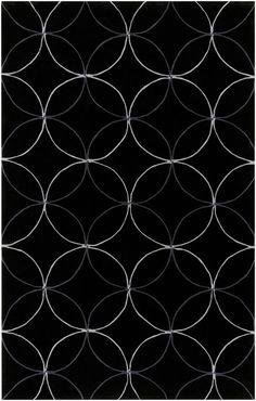 Modernrugs Cosmopolitan Circles White Black Modern Rug