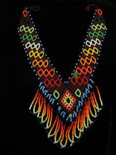 Tribal Amazonian Beaded Necklace  Seed Bead Jewelry