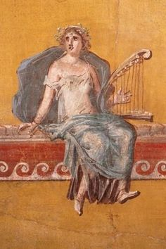Roman Fresco -- Depicting a harpist -- Circa 50 CE -- Boscoreale, Italy -- Located roughly 1 mile north of Pompeii. Ancient Pompeii, Pompeii And Herculaneum, Pompeii Italy, Roman History, Art History, European History, American History, Ancient Music, Décor Antique