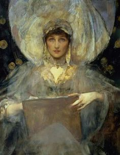 Sir James Jebusa Shannon - Portrait, Lady Diana and The purple.