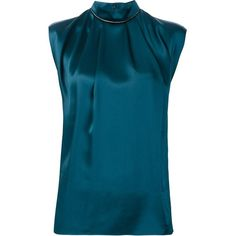 Lanvin Ruffled Neck Sleeveless Blouse (1 545 AUD) ❤ liked on Polyvore featuring tops, blouses, green, silk blouse, green blouse, frilly blouse, blue silk blouse and silk top
