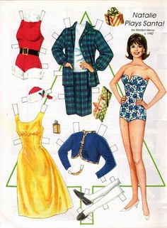 NATALIE WOOD Plays Santa Paper Doll by Marilyn Henry {|} Magazine Paper Dolls