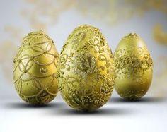 Złote pisanki wielkanocne ręcznie robione - komplet Easter Eggs