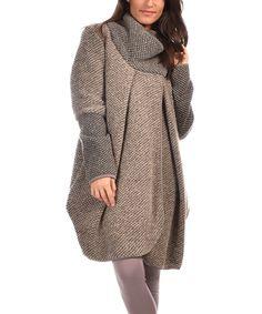 This Des filles à la Vanille Taupe Textured Asymmetric Wool-Blend Coat by Des filles à la Vanille is perfect! #zulilyfinds