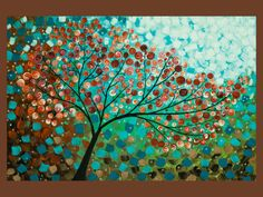 """Original Modern Abstract Heavy Texture Impasto Painting Landscape """"Wishing Tree"""" by QIQIGALLERY"""