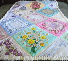 CHARITY is the name I gave this vintage hanky quilt on thick chenille.  Hankies on point make interesting design.