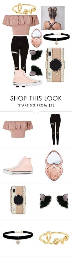 """Untitled #142"" by layla-at-music ❤ liked on Polyvore featuring Miss Selfridge, Topshop, Converse, Too Faced Cosmetics, Kate Spade, Betsey Johnson and Sydney Evan"