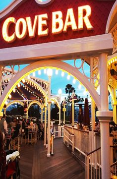 A bright and vibrant Cove Bar located in California Adventure.  It overlooks Paradise Pier and a perfect spot if you're looking for a great spot to watch the water and light show World of Color.  Order the Lobster Nachos; life changing.