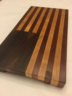 Wood American Flag End Grain Cutting Board and Serving Tray made of Walnut, Maple, and African Mahogany