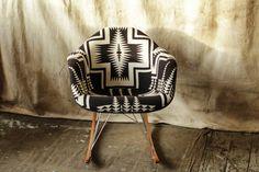 B&W Cross Pendleton Eames Rocker - Beam & Anchor. Eames Rocker, Eames Rocking Chair, Comfortable Accent Chairs, Small Accent Chairs, Chair Design, Furniture Design, Bedroom Furniture, Unique Furniture, Design Design