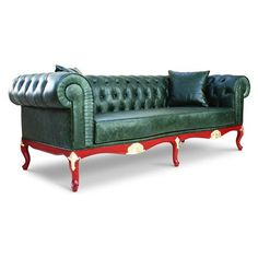Royal Chesterfield Green Leather Sofa with red & gold legs