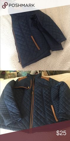 Laura Scott Jacket Excellent condition. Only worn once! Navy Blue with brown trim. 2 pockets. Zipper closure. Laura Scott Jackets & Coats Puffers