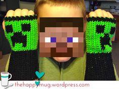 Crochet Minecraft Creeper Fingerless Gloves