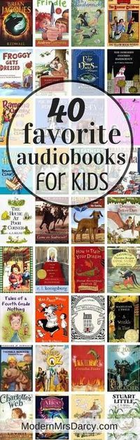 40 favorite audiobooks for kids. Adults will enjoy these too so you can listen together. Best audiobooks for kids: perfect for kids exhausted from the pool or long summer road trips. Sharing my family's favorites, and yours. Audio Books For Kids, Childrens Books, Good Audio Books, Audio Stories For Kids, Good Books, Books To Read, My Books, Teen Books, Library Books
