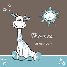 Geboortekaartje voor een jongen met een turquoise giraffe.