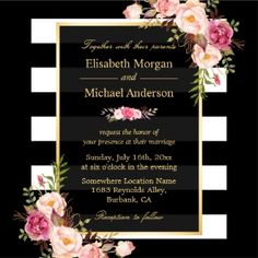 """Modern Vintage Pink Floral with Black White Stripes Formal Wedding Invitation Suite. (1) For further customisation, please click the """"customise further"""" link and use our design tool to modify this template. (2) If you prefer Thicker papers / Matte Finish, you may consider to choose the Matte Paper Type. (3) If you need help or matching items, please contact me."""