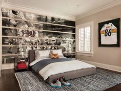 A Custom Wall Panel fills one whole wall - use www.pixersize.com to print the over-scale mural from a photo, cut the mural into strips and apply like wallpaper in between painted raised wood panels to create a unique effect, nightstand tables are CB2 Harvey Carbon Grey nightstands, funky chrome nightstand lamps are the George Kovacs Table Lamp - P826-077, bed is the Alex Bed from Pottery Barn Kids, and the rug is Cody Vintage Dening Rug from Restoration Hardware