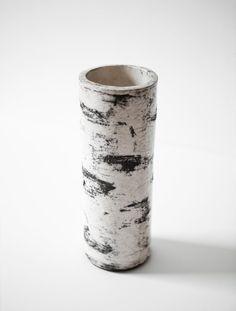 "Handmade 10"" (26cm) Koivu Birch Raku Tree Trunk Vase"