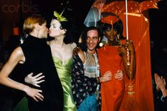 1996 - John Galliano for Givenchy couture - Carla Bruni, Kirsten McMenamy, John Galliano & Naomi Campbell