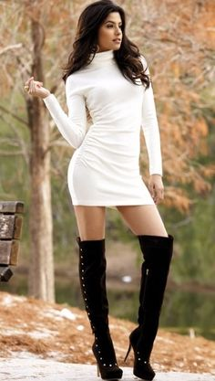 This Cardigan-sweater-dress with a short bottom and high boots really plays games with men's minds -- They can't figure out where to stare. Description from pinterest.com. I searched for this on bing.com/images