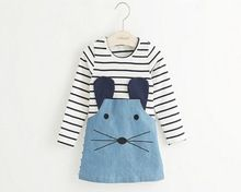 Casual style long sleeve Striped lovely little mouse design girls dress 2015 New Arrive Autumn children clothing(China (Mainland))