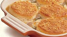 Crunchy Biscuit Chicken Casserole Enjoy this hearty chicken casserole packed with Green Giant® vegetables and baked with Pillsbury® Grands!® biscuits – a delicious dinner.