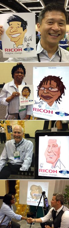 Ricoh, USA recently hired Goofy Faces to provide color digital caricatures at a 2-day trade show in Seattle. Digital artist, Nolan, delighted guests for 2 straight days with caricatures he drew on his iPad and printed them out for guests on a Ricoh printer. Attendees were also able to watch each drawing take shape on a large screen near the artist as he drew each guest. Digital caricatures are a great value for trade shows and are available nationwide!  Digital artists at www.goofyfaces.com