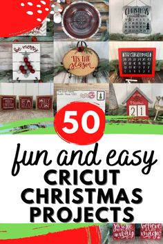 Are you looking for quick and easy Cricut Christmas Ideas and Projects to make? Look no further! Learn how to make 50 different Christmas projects with your Cricut or Silhouette. These Christmas project ideas are easy to make and are great for home decor, Christmas gifts, advent calendars, and more.