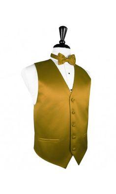 New Gold Solid Satin Tuxedo Vest