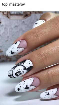 Nails in 2020 Nail Art Disney, Disney Acrylic Nails, Summer Acrylic Nails, Best Acrylic Nails, Disney Manicure, Disney Makeup, Nail Manicure, Nail Art Designs, Disney Nail Designs