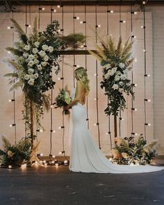 floral wedding arch with pampas plumes and festoon lights # Weddings arch Top 20 Bohemian Pampas Grass Wedding Arches Wedding Stage, Elope Wedding, Dream Wedding, Wedding Arches, Elopement Wedding, Wedding Reception, Wedding Colors, Wedding Flowers, Wedding Bows