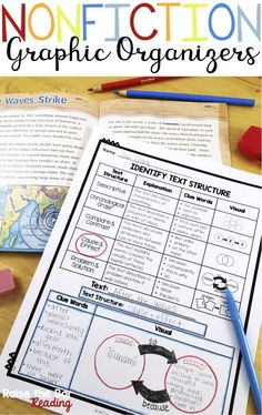 53 Nonfiction Graphic Organizers for Reading Comprehension! Perfect for students in Grades to use with any informational text. Some topics included are text features, nonfiction text structure, point of view, summarizing, and Reading Lessons, Reading Strategies, Reading Skills, Teaching Reading, Reading Comprehension, Guided Reading, Comprehension Strategies, Learning, Teaching Spanish