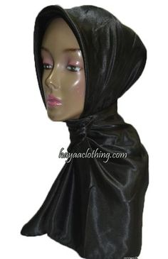 Satin Solid Square Hijab - Black