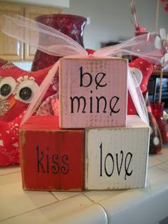 valentine blocks, could use for Valentines words to spell or phrases to put in order. Thinking I'll recite story of St Valentine & use the blocks for sequencing activities
