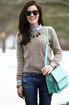 Sarah Vickers of Classy Girls Wear Pearls wears a PINK PINEAPPLE sweater 2f283904b
