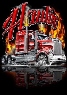 Mack Trucks, Peterbilt Trucks, Big Rig Trucks, Custom Big Rigs, Custom Trucks, Trucker Quotes, Sprint Car Racing, Truck Art, Art Deco Posters