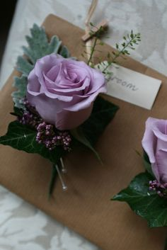 Buttonhole of roses and heather