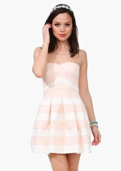 Pink Strapless Striped Princess Love Dress pictures